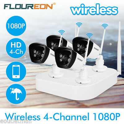 4CH HD 1080P NVR DVR WLAN Wireless IP Kamera Set Funk Video Überwachungssystem