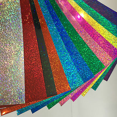 "Holographic Sequins Sign Vinyl Sample Pack, 12 Sheets, 8"" x 12 Inch, HoloGlitter"