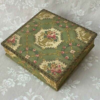 Pretty Vtge FRENCH  BOUDOIR FABRIC BOX Pink Rose Basket 1920 w. Religious Images