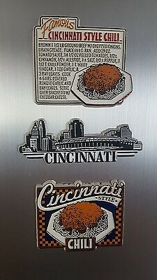 vintage Cincinnati chili magnets with recipe