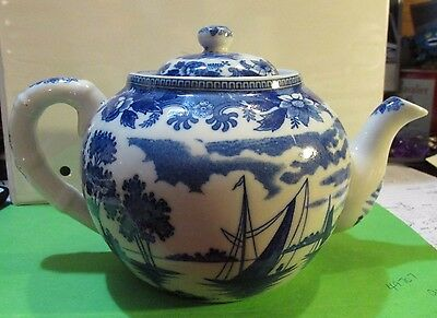 1920's Antique Japanese  Chinese Blue and White Porcelain Teapot Windmill Nippon