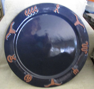"Frankoma Ranch Cattle Brands Western Longhorn.. 13"" Navy Blue Charge Plate"