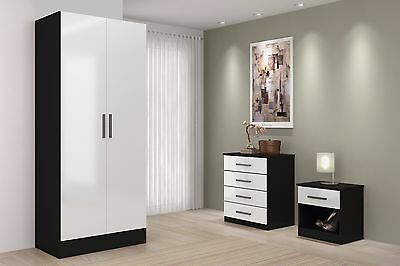 High Gloss Wardrobe Drawers Chest & Bedside 3 Piece Trio Bedroom Furniture Sets