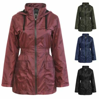 Ladies Lightweight Festival Plain Hooded Raincoat Womens Anorak Jacket Coat Top