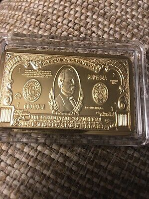 $1000 999 24k Gold Plated Banknote US Dollar Bill Note With Holder