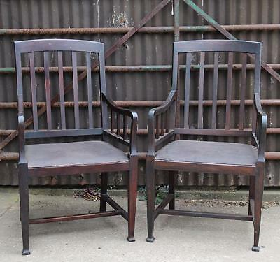 A Pair of Arts & Crafts Carved Oak Arm Chairs Hall Bedroom
