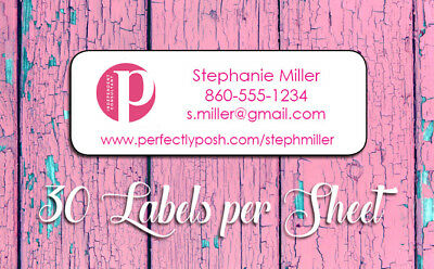 PERFECTLY POSH Personalized Catalog Labels, 30 Per Sheet, Independent Consultant