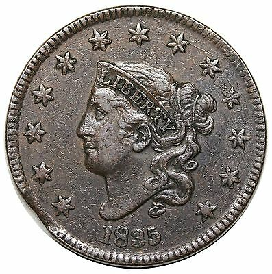 1835 Coronet Head Large Cent, Head of '34, Large 8, N-1, clipped planchet, XF