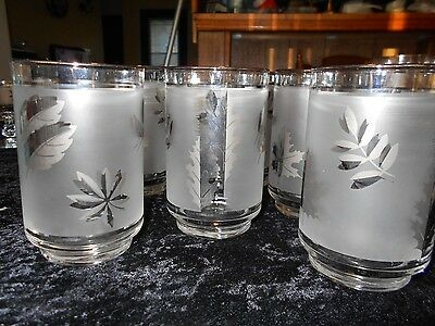 Vintage Mid century Libbey Silver Leaf Glass Highball Tumblers (8) New old Stock