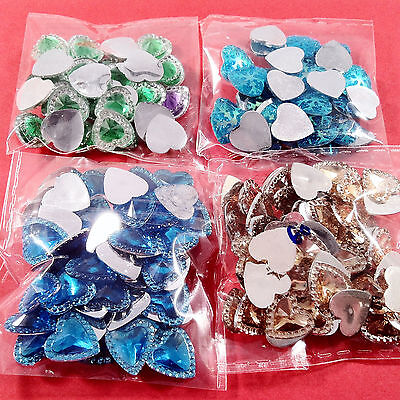 190pcs HEARTS EMBELLISHMENTS - craft cardmaking cabochon toppers