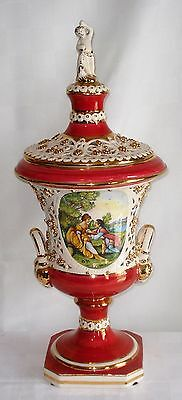 Vintage Capodimonte Hand-Painted Ceramic Covered Urn (Italy)