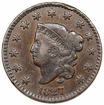 1827 Coronet Head Large Cent, N-4, VF detail