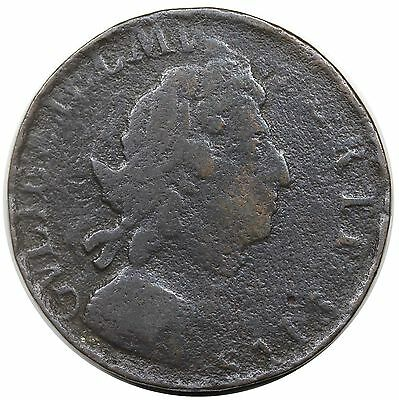 1698 Great Britain Halfpenny, S-3555, date in legend, double struck, VG+ detail