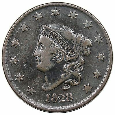 1828 Coronet Head Large Cent, N-3, VF