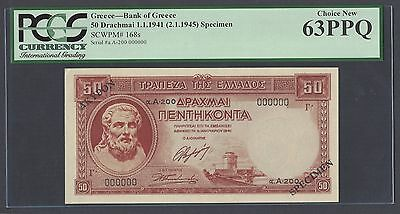 Greece 50 Drachmai 1-1-1941(2-1-1945) P168s Specimen Uncirculated