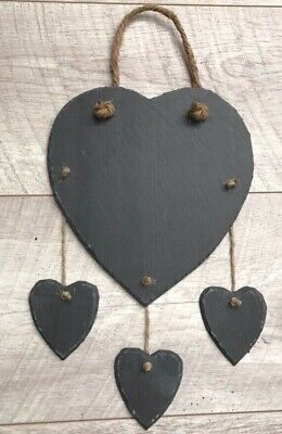 Handmade Natural Slate 4 Heart Chalkboard Shabby Chic Plaque Message Weddings
