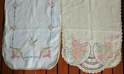 2 Vintage Handmade Linen Embroidered Floral Table Runners Crocheted Edge
