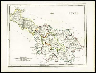 IRELAND 1845 Original Antique Map of CAVAN by Lewis & Co