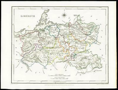IRELAND 1845 Original Antique Map of LIMERICK by Lewis & Co
