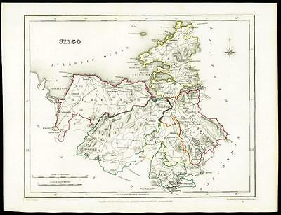 IRELAND 1845 Original Antique Map of SLIGO by Lewis & Co
