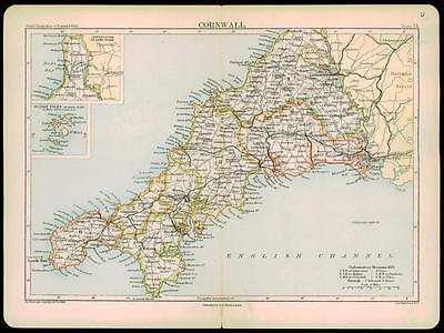 1892 Original Antique Colour Map of CORNWALL by A & C Black  (4)