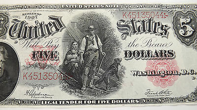 1907 $5 United States Note Wood Chopper Gorgeous Note Lot#74007