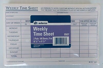 Adams Weekly Time Sheet 5.5 x 8.5 Inches 2 pads 100 Sheets/Pad