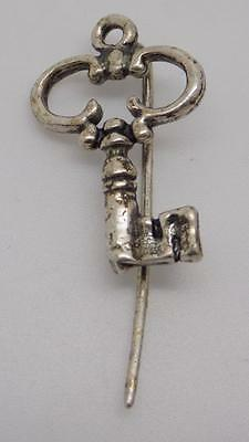 Vintage Solid Silver Key Brooch - Stamped - Made in Italy