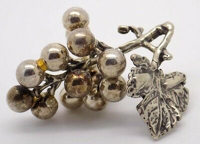 Vintage Solid Silver Bunch of Grapes Miniature - Stamped - Made in Italy