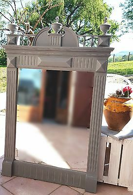 Beautiful French Antique 19th Century over mantle shabby chic mirror