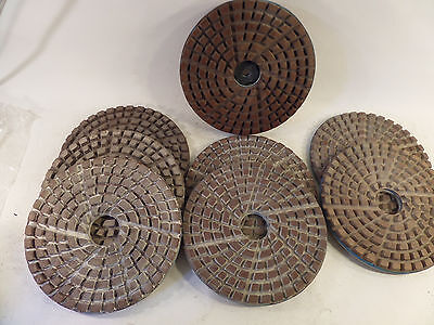 "Diamond Polishing Pads 9-3/4""  8 Piece Set with Backing  Marble Concrete Stone"