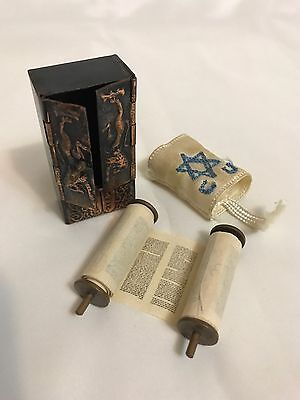 Vintage Miniature Torah Sefer Scroll Paper with Fabric Cover Copper Box Israel