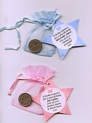 Personalised Lucky sixpence for a baby boy/girl, birth congrats, christening etc
