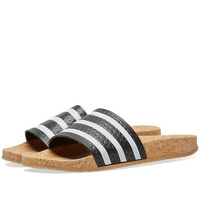 New WOMENS Adidas ADILETTE CORK Slides Sandals Black Brown Flip Flops  BA7211 q1 2fe7b823e7