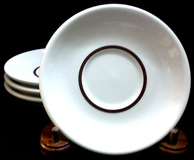 HOMER LAUGHLIN RESTAURANT WARE SAUCERS (4) TEA CUP WHITE with BROWN RING U.S.A.