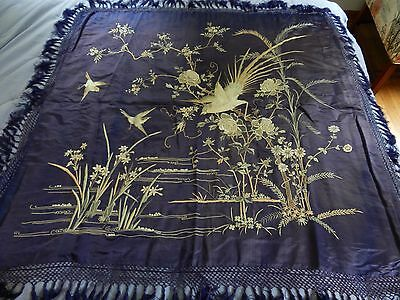 """42"""" x 43"""" Antique Chinese Silk Embroidered Piano Shawl / tapestry Blue"""