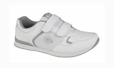 Mens DEK Bowls White Bowling Sports Velcro Shoes Trainers