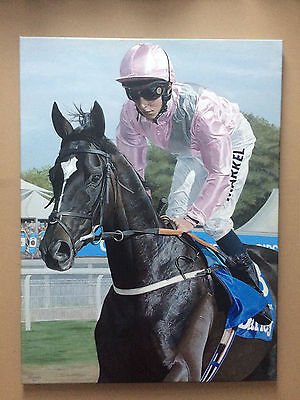 Original painting of racehorse The Fugue in acrylic - Horse racing
