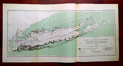RARE 1904 Map Long Island NY Probable Cretaceous Artesian Well Areas A.C. Veatch