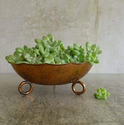 Vintage Handcrafted Copper Bowl with three Feet Hammered Tarnished and Aged