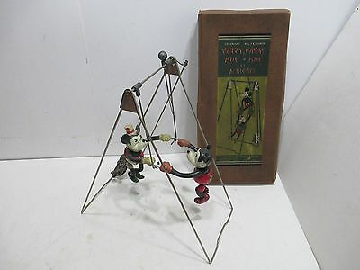 MICKEY AND MINNIE MOUSE SWINGING ACROBATS WITH BOX 1930s GEO BORGEFLDT