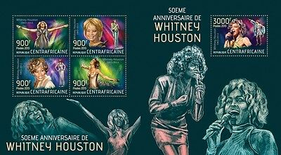 CA13418ab Central Africa 2013 Whitney Houston MNH SET
