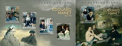 CA14402ab Central Africa 2014 Edouard Manet MNH SET