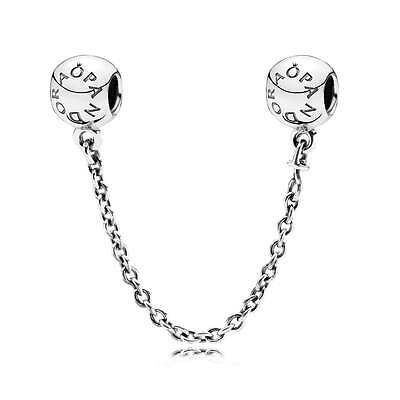 PANDORA Silver Logo Safety Chain Charm 791877 Genuine Authentic