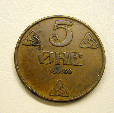 1939 Norway 5 Ore Coin