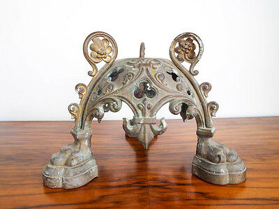 Antique French Bronze Trefoil Architectural Base Stand 19th Century European