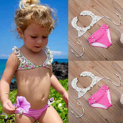 Baby Toddler Girls Kids Swimwear Split Bikini Tankini Set Swimsuit Beach Wear