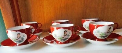 Asian Oriental Red Geisha Girls 6 Cups And Saucers Sets