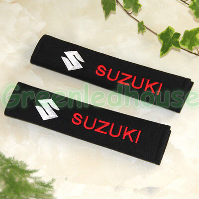 2x Black Cotton Car Seat Belt Shoulder Pads Covers Cushion Embroidery For Suzuki