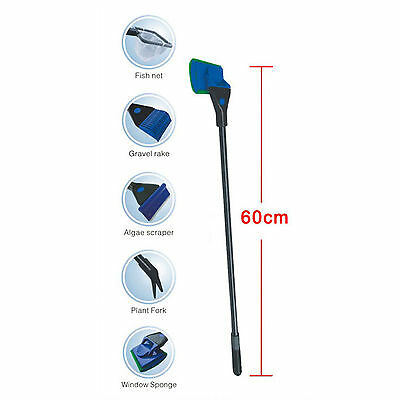 5 in 1 Fish Tank Aquarium Cleaning Set Brush Gravel Rake Net Fork Sponge Tools